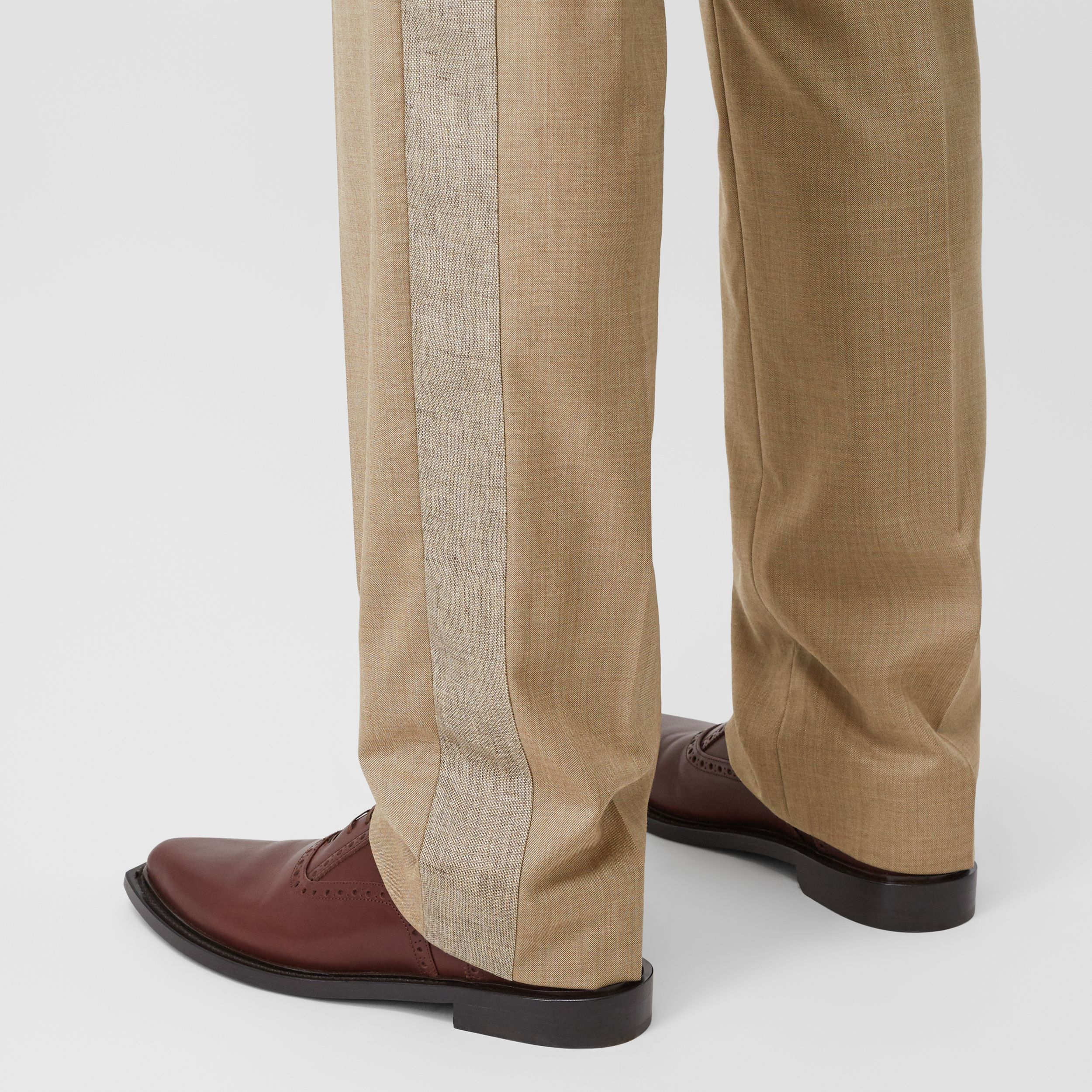 English Fit Wool Cashmere and Linen Tailored Trousers in Pecan Melange - Men | Burberry - 2