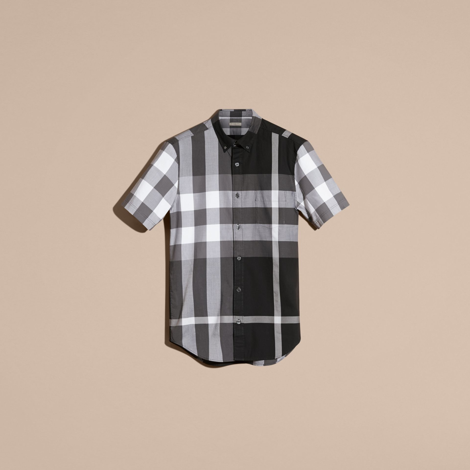 Black Short-sleeved Check Cotton Shirt Black - gallery image 4