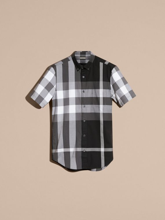 Black Short-sleeved Check Cotton Shirt Black - cell image 3