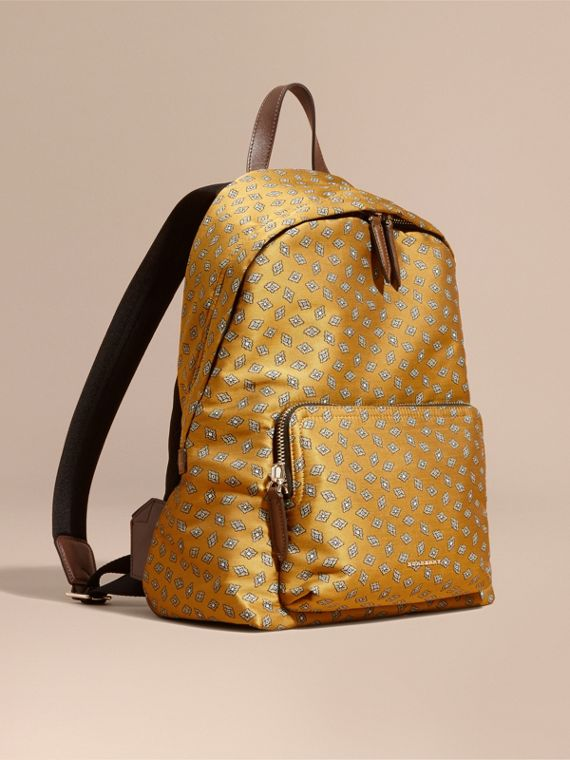Leather Trim Abstract Jacquard Backpack Citrus Yellow