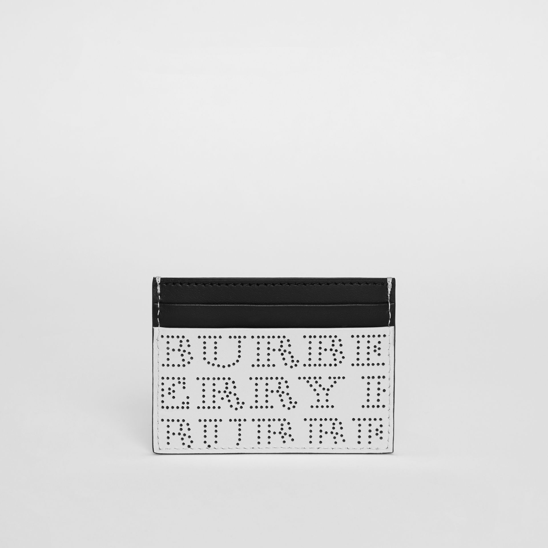 Perforated Logo Leather Card Case in Optic White | Burberry - gallery image 5