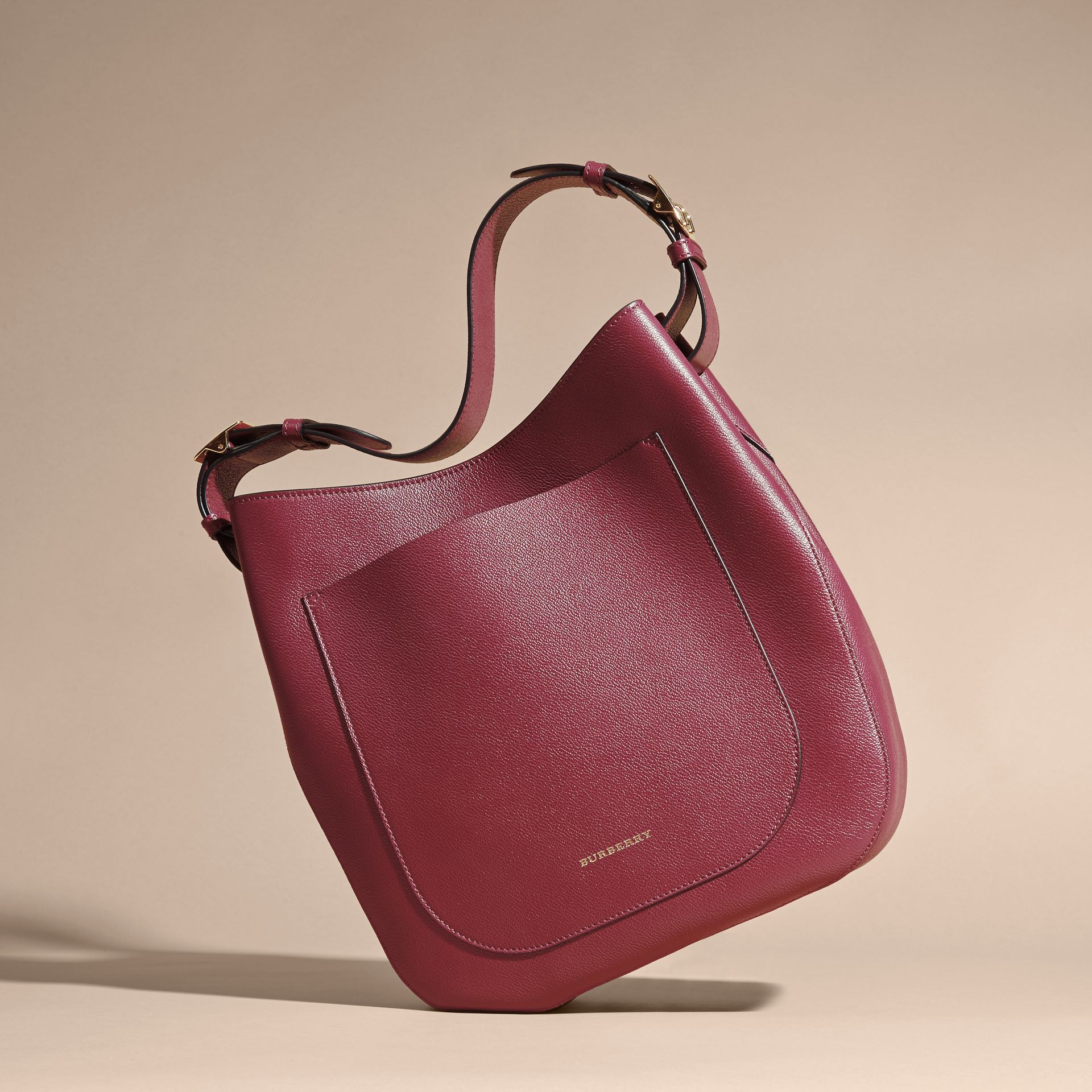 Textured Leather Shoulder Bag in Dark Plum - gallery image 7