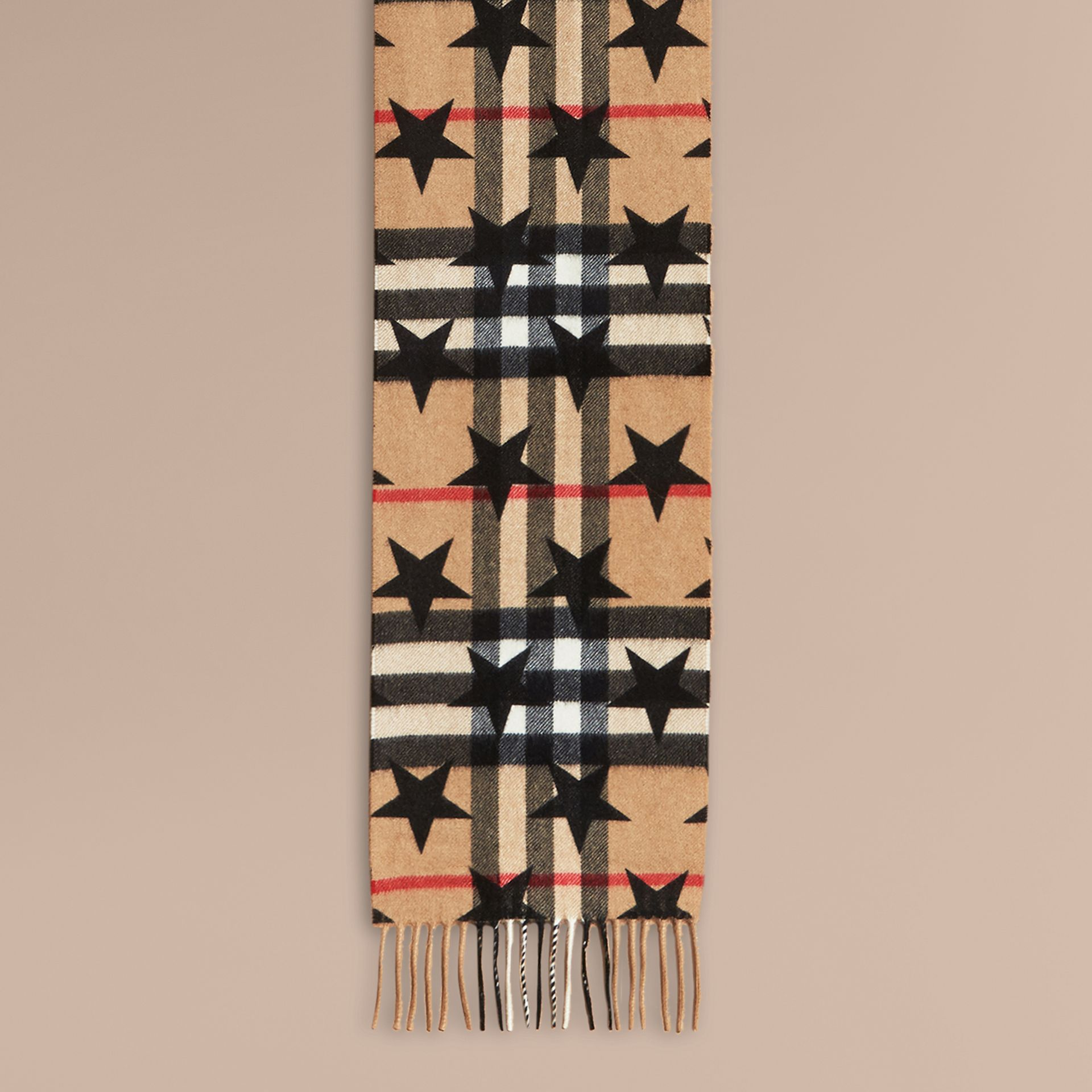 Black The Mini Classic Cashmere Scarf in Check with Star Print Black - gallery image 2