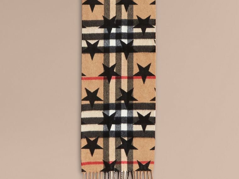 Black The Mini Classic Cashmere Scarf in Check with Star Print Black - cell image 1