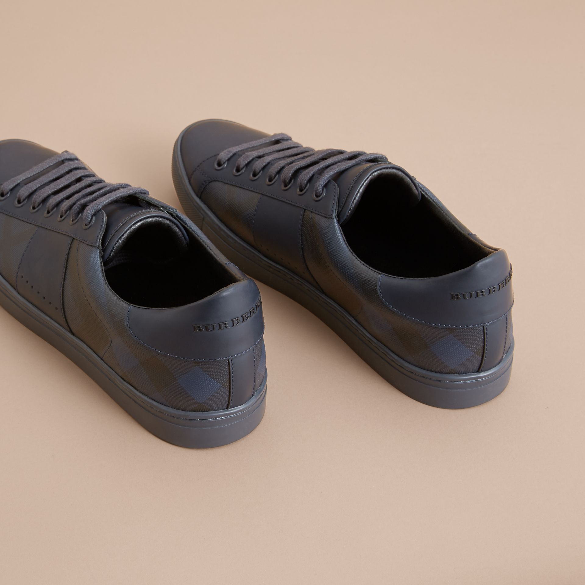 London Check and Leather Sneakers in Navy - Men | Burberry - gallery image 3