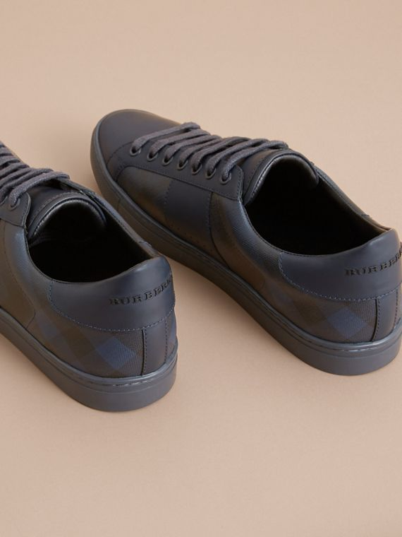 Check Detail Leather Trainers in Navy - Men | Burberry - cell image 3