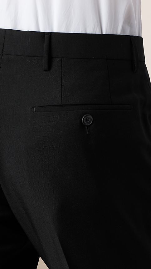 Black Modern Fit Wool Mohair Trousers - Image 3