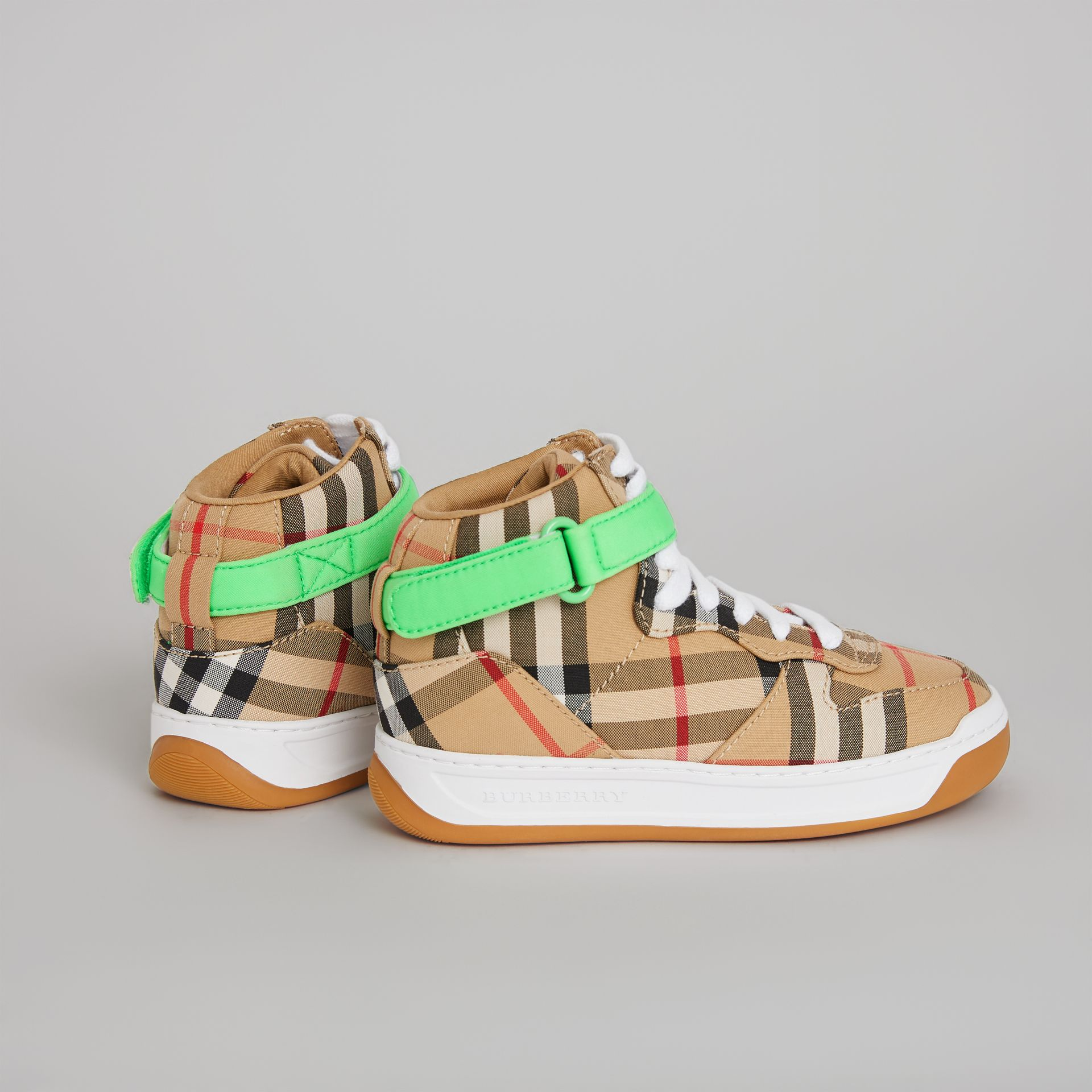 Vintage Check High-top Sneakers in Antique Yellow/neon Green | Burberry Singapore - gallery image 2