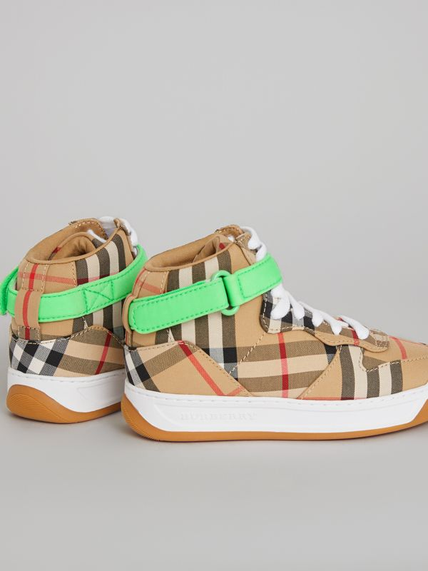 Vintage Check High-top Sneakers in Antique Yellow/neon Green | Burberry Singapore - cell image 2