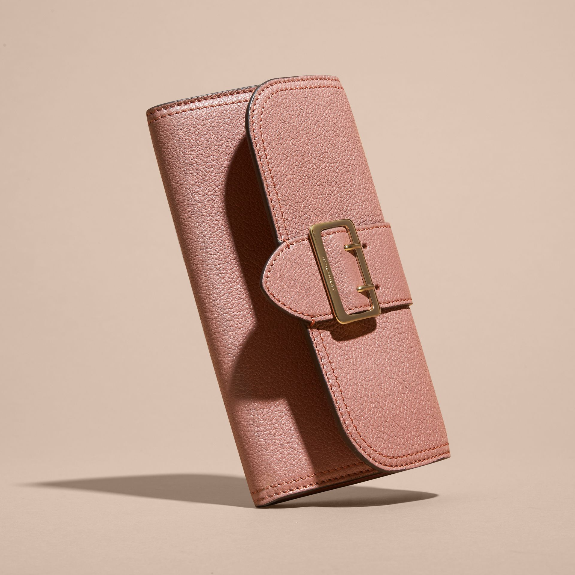 Textured Leather Continental Wallet Dusty Pink - gallery image 6