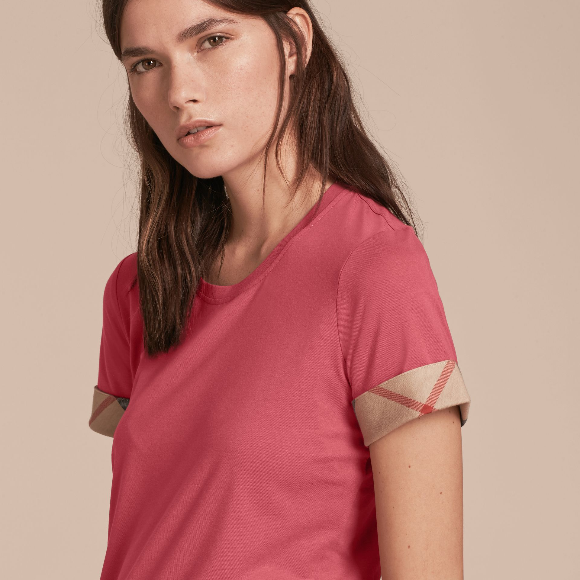 Pink azalea Check Trim Stretch Cotton T-shirt Pink Azalea - gallery image 5