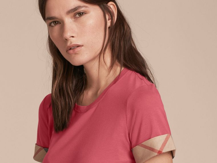 Check Trim Stretch Cotton T-shirt Pink Azalea - cell image 4