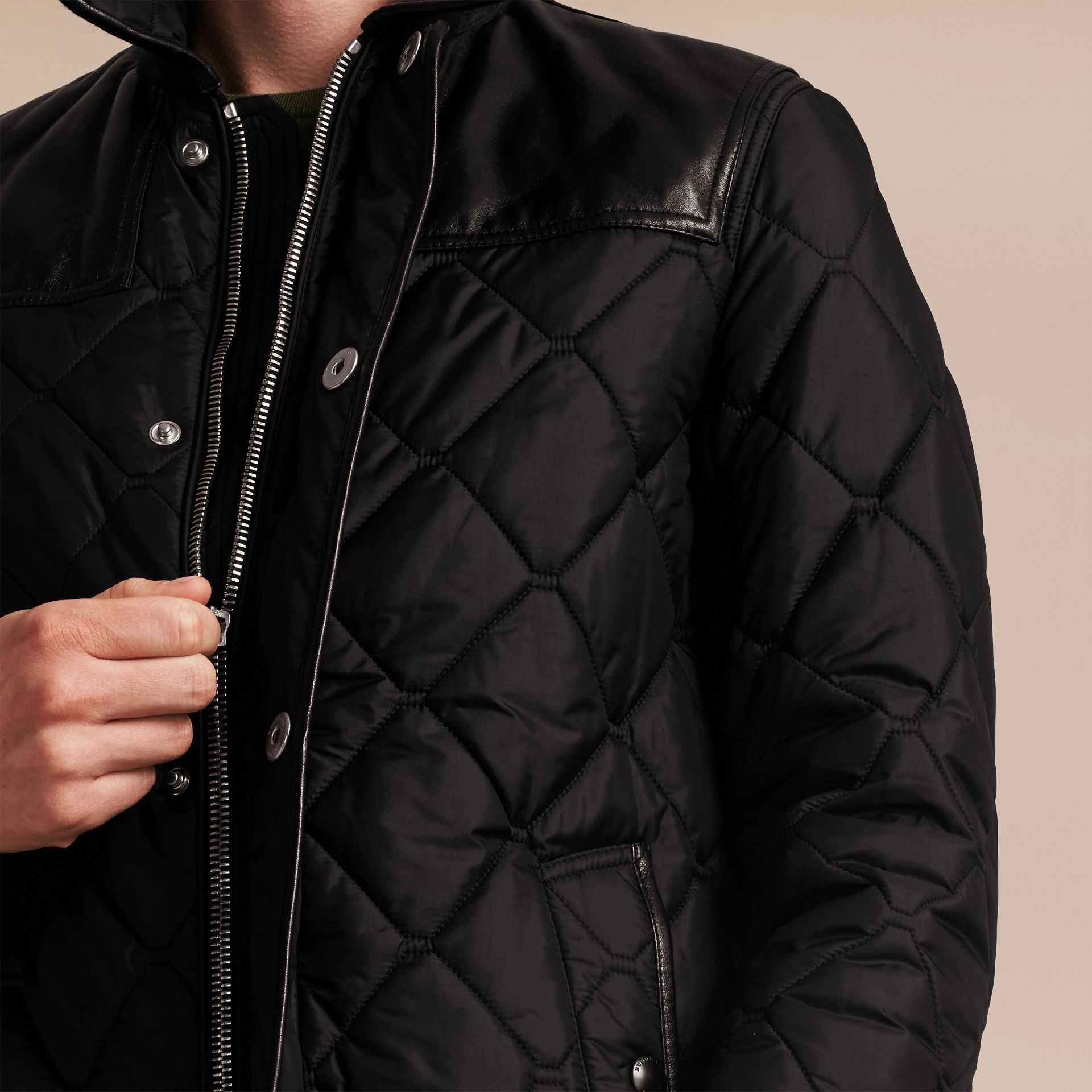 Black Lambskin Detail Field Jacket - gallery image 6