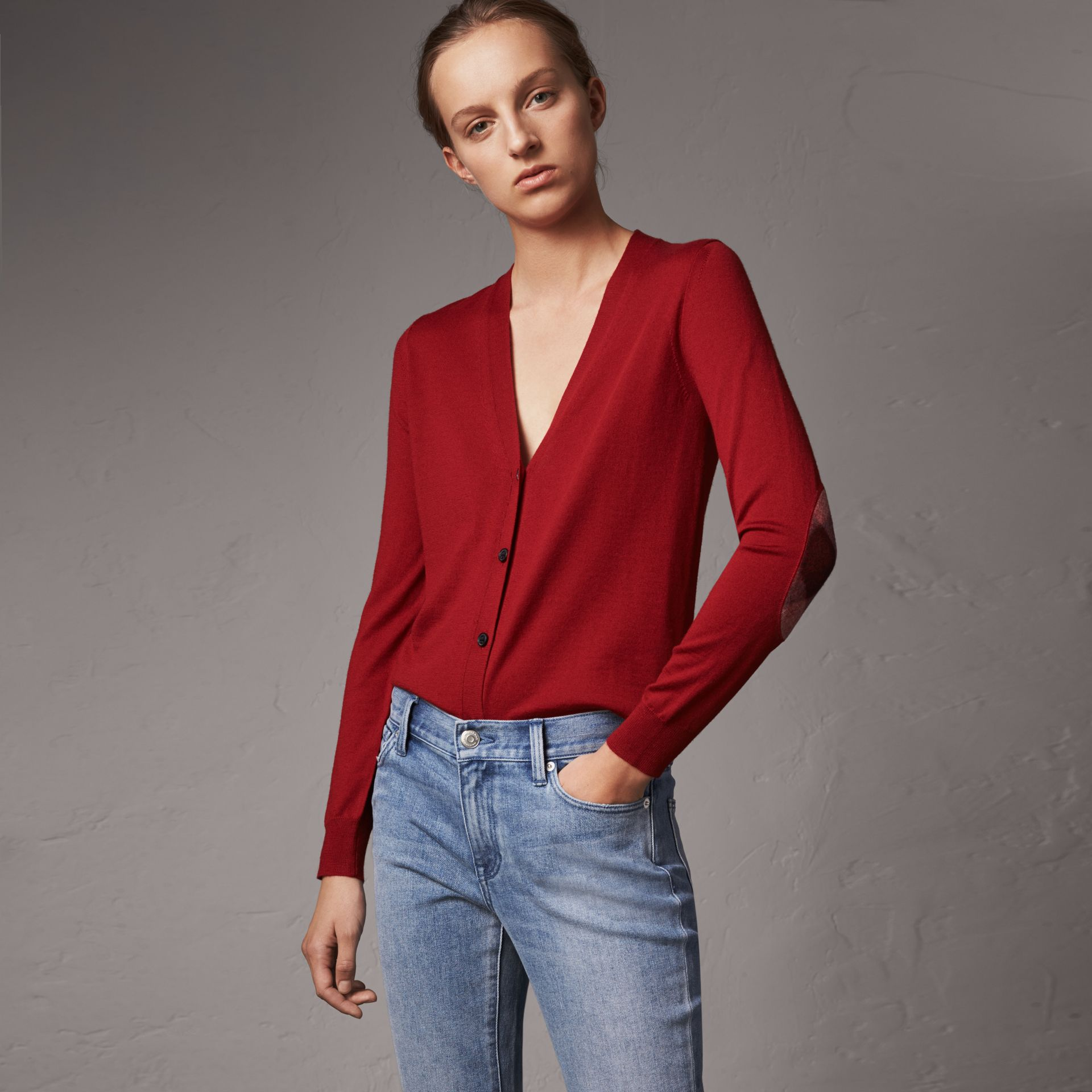 Check Detail Merino Wool Cardigan in Parade Red - Women | Burberry Canada - gallery image 0