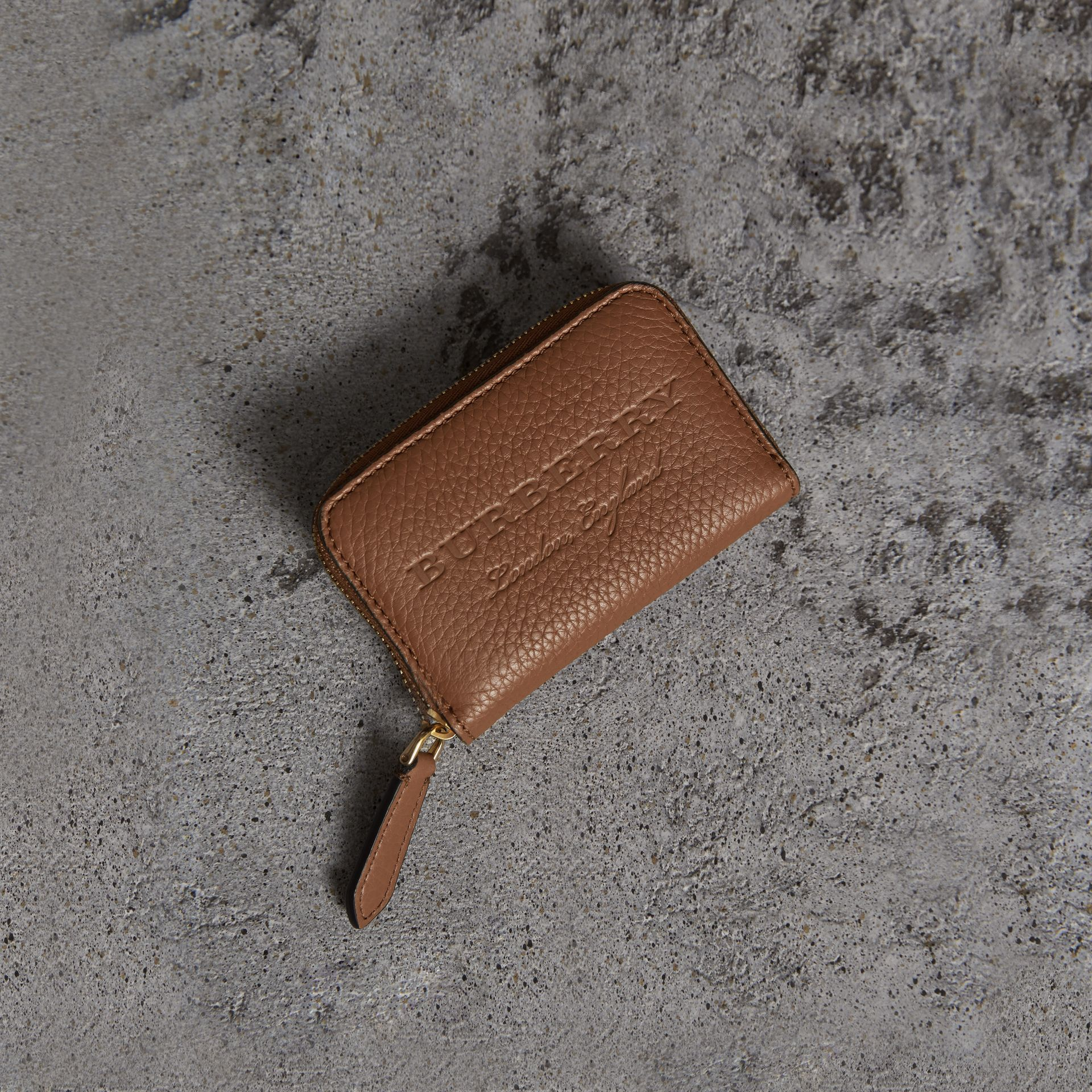 Textured Leather Ziparound Coin Case in Chestnut Brown - Men | Burberry - gallery image 0