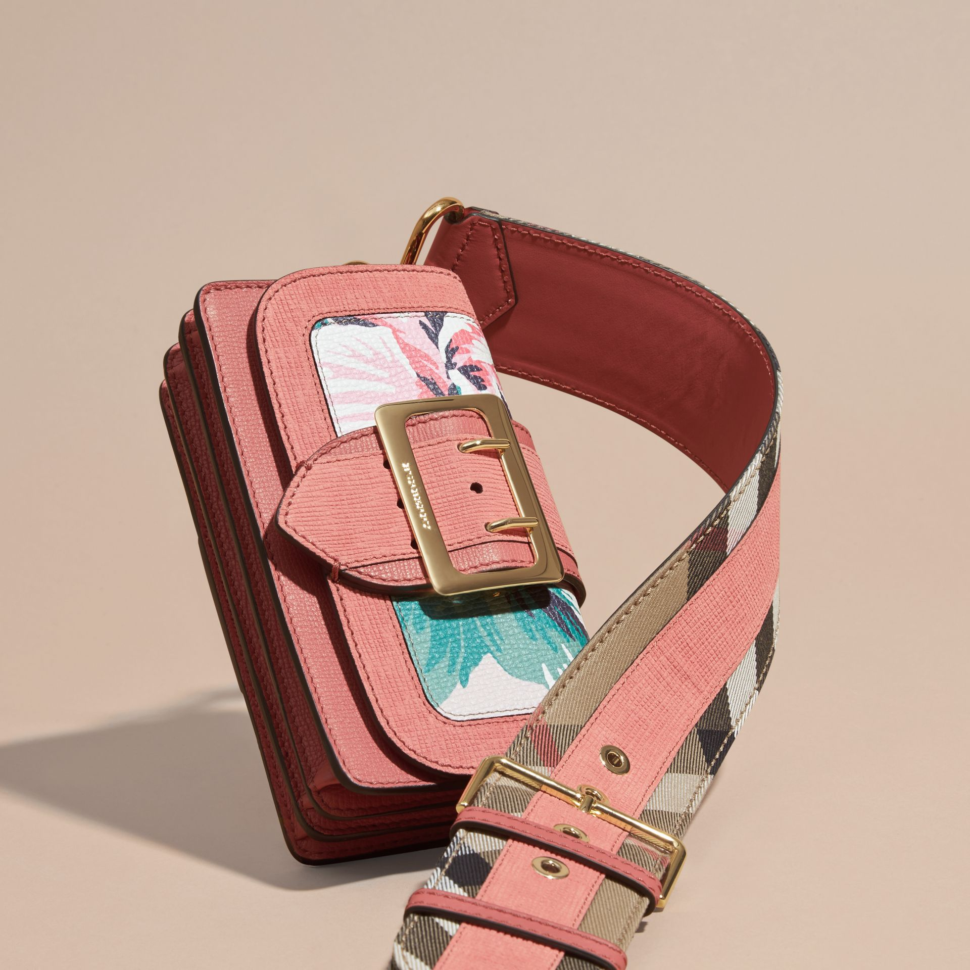 Copper pink /emerald The Small Buckle Bag in Peony Rose Print Leather Copper Pink /emerald - gallery image 8