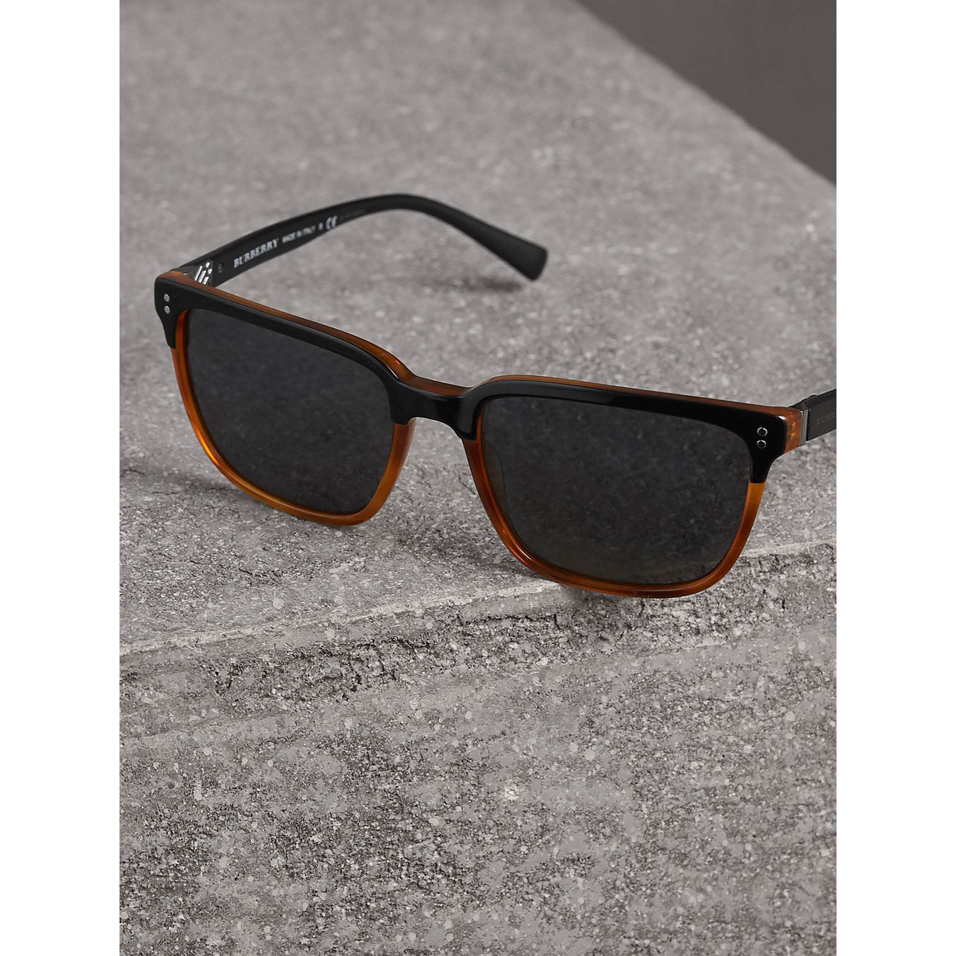 Square Frame Sunglasses in Light Brown - Men | Burberry Singapore - gallery image 2