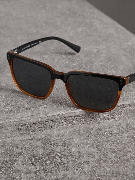 Square Frame Sunglasses in Light Brown - Men | Burberry Hong Kong - cell image 2