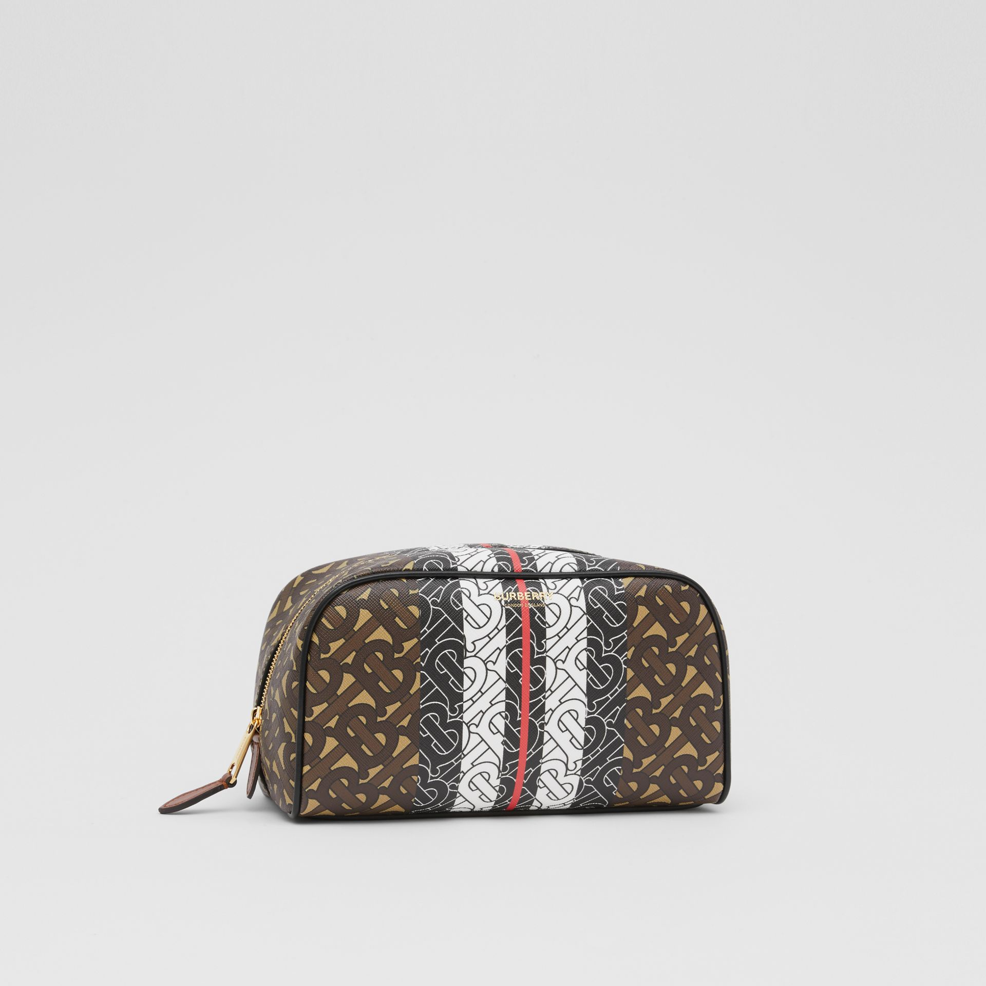 Monogram Stripe E-canvas Travel Pouch in Bridle Brown - Women | Burberry United Kingdom - gallery image 4