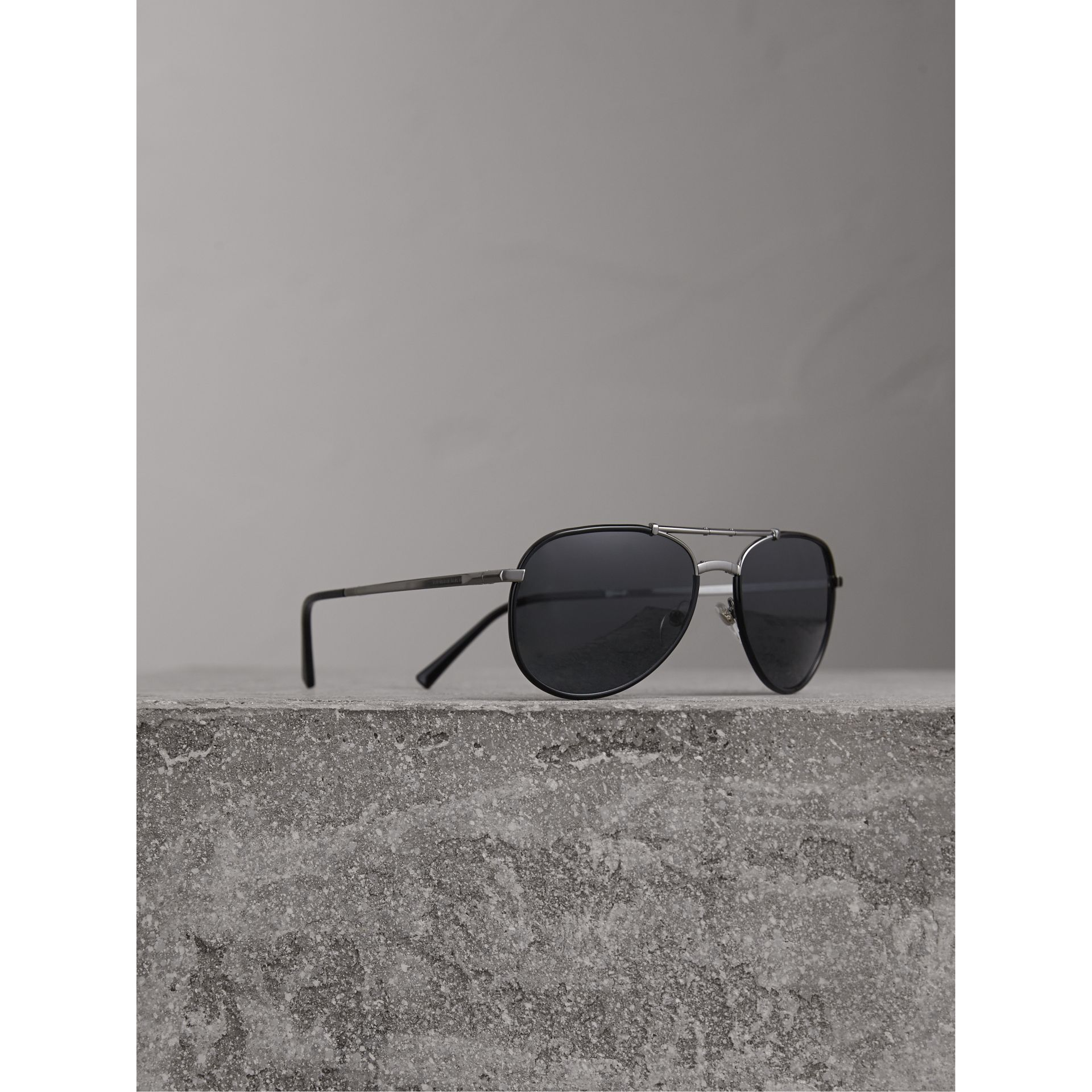 Folding Pilot Sunglasses in Black - Men | Burberry United States - gallery image 1