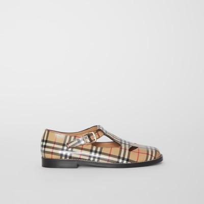 Vintage piel cuadros Zapatos en Beige en a Checks T wq1YAU