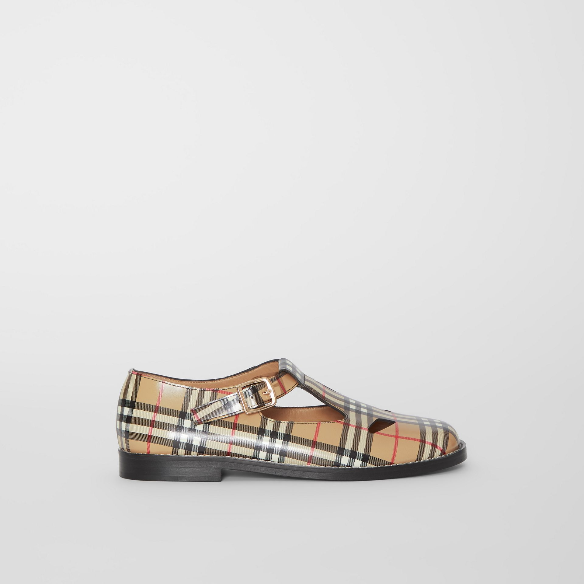 Vintage Check Leather T-bar Shoes in Archive Beige - Women | Burberry - gallery image 5
