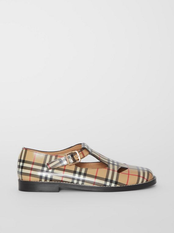 Vintage Check Leather T-bar Shoes in Archive Beige