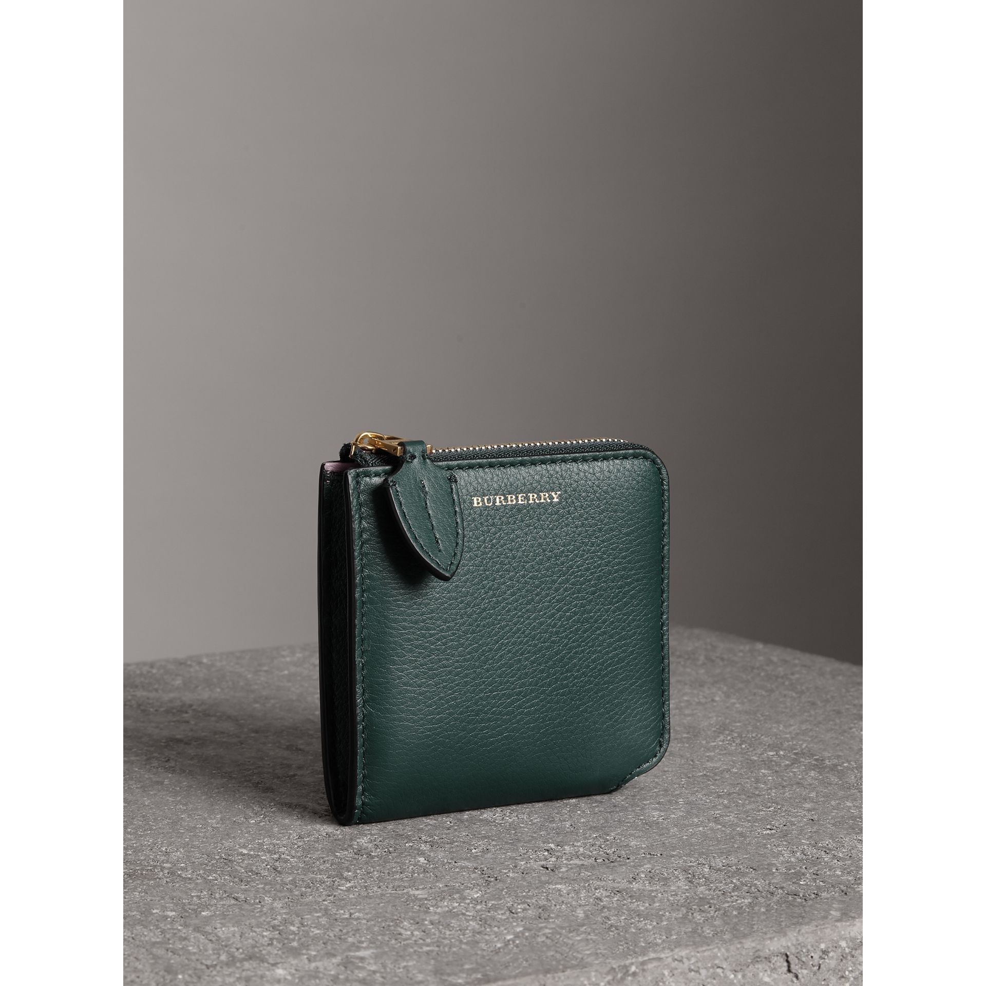 Grainy Leather Square Ziparound Wallet in Dark Cyan - Women | Burberry - gallery image 4