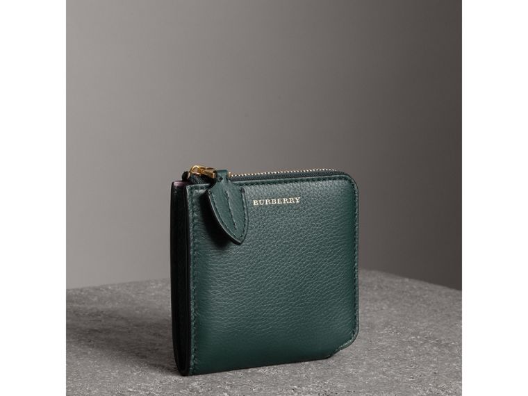 Grainy Leather Square Ziparound Wallet in Dark Cyan - Women | Burberry - cell image 4