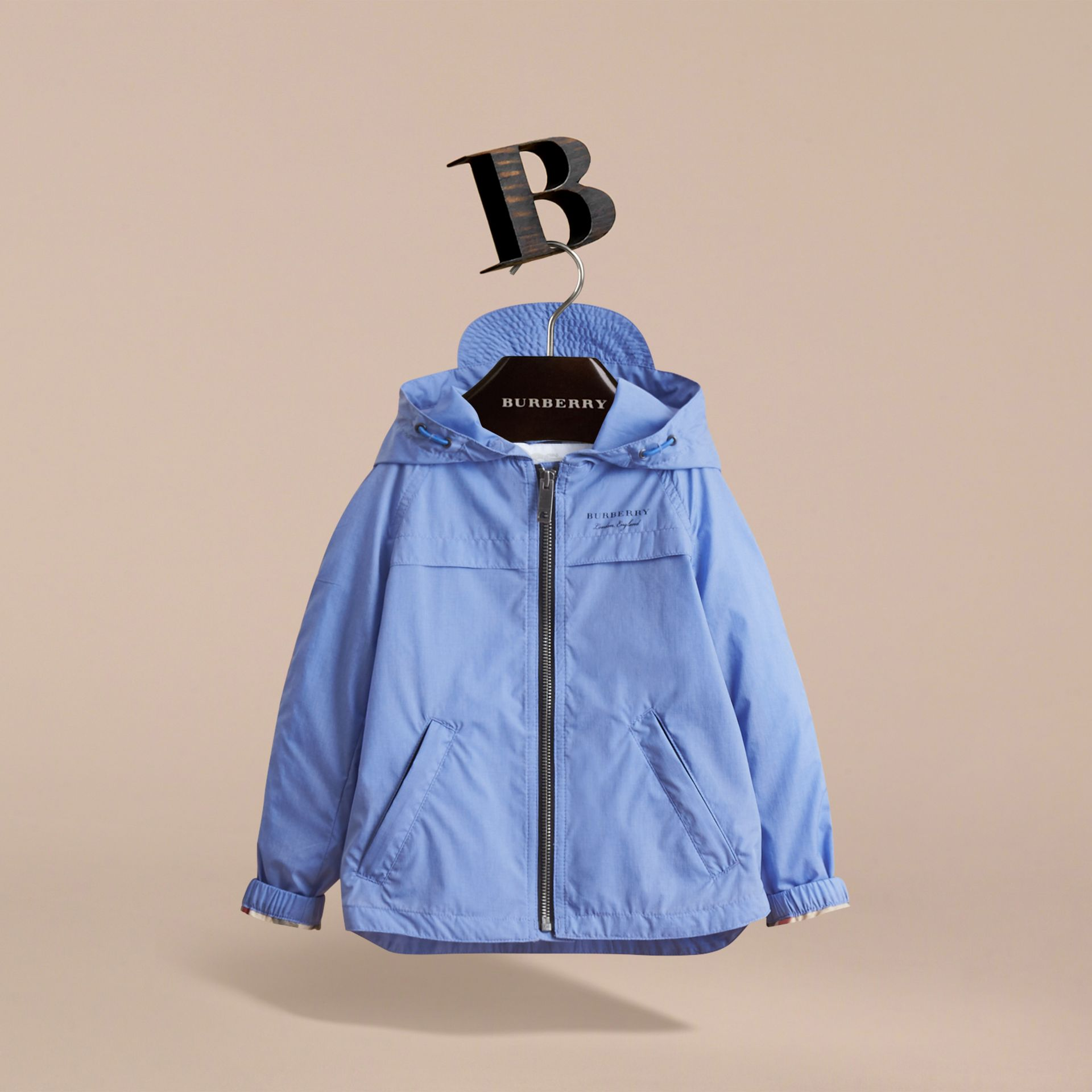 Showerproof Hooded Technical Jacket in Hydrangea Blue - Boy | Burberry Australia - gallery image 3