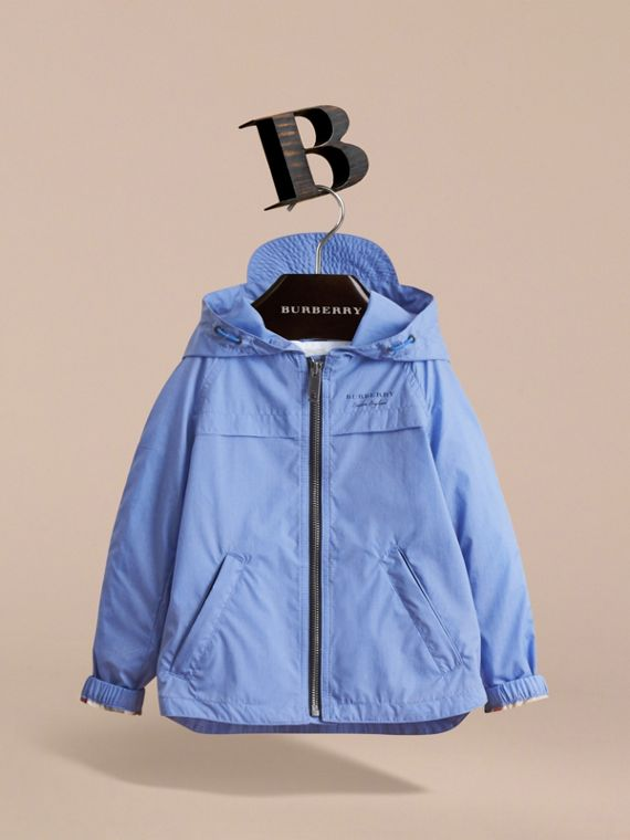 Showerproof Hooded Technical Jacket in Hydrangea Blue | Burberry - cell image 2