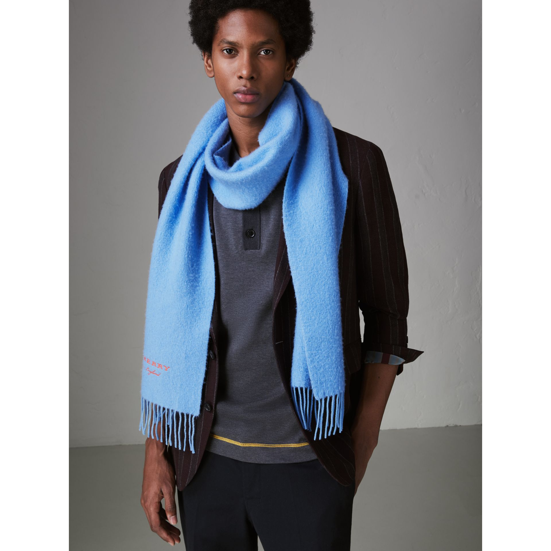 Embroidered Cashmere Fleece Scarf in Blue Topaz | Burberry United Kingdom - gallery image 6