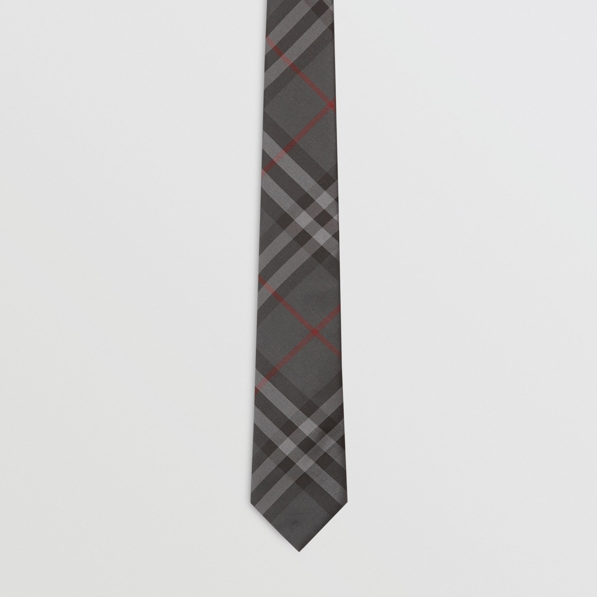 Modern Cut Vintage Check Silk Tie in Dark Charcoal - Men | Burberry Australia - gallery image 4