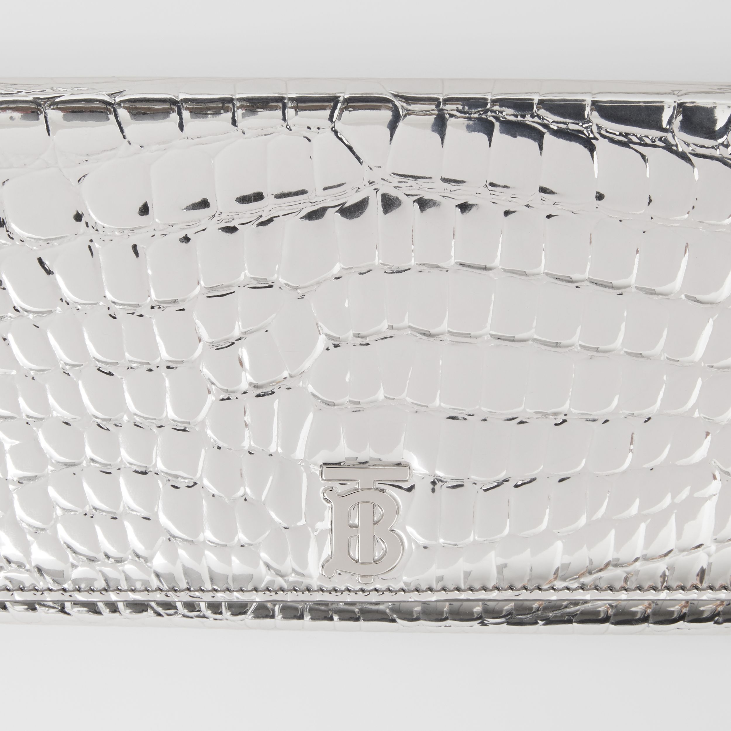 Metallic Embossed Wallet with Detachable Strap in Silver - Women | Burberry - 2