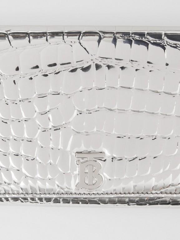 Portefeuille embossé métallisé avec sangle amovible (Argent) - Femme | Burberry - cell image 1