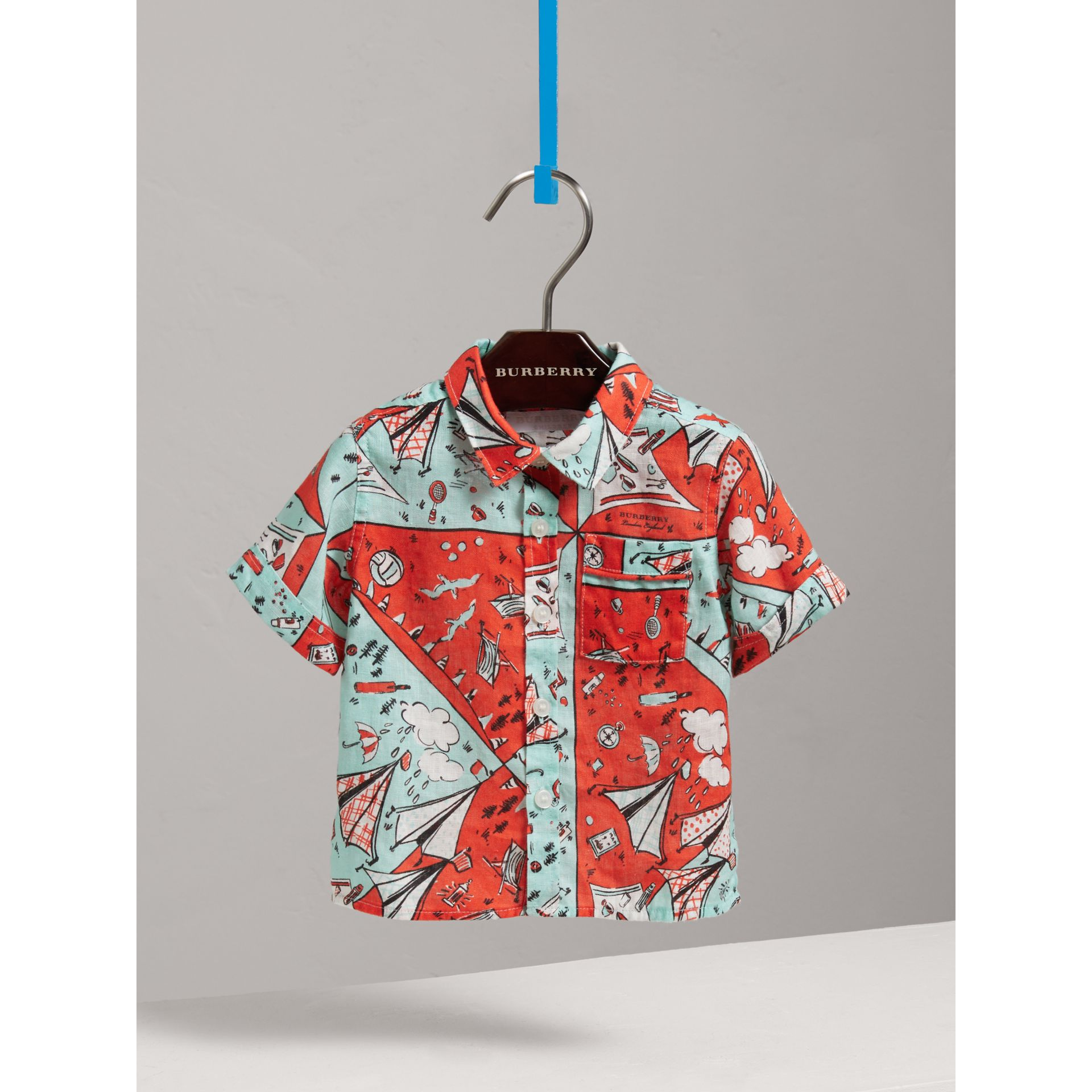 Short-sleeve Picnic Print Linen Shirt in Bright Aqua | Burberry - gallery image 2
