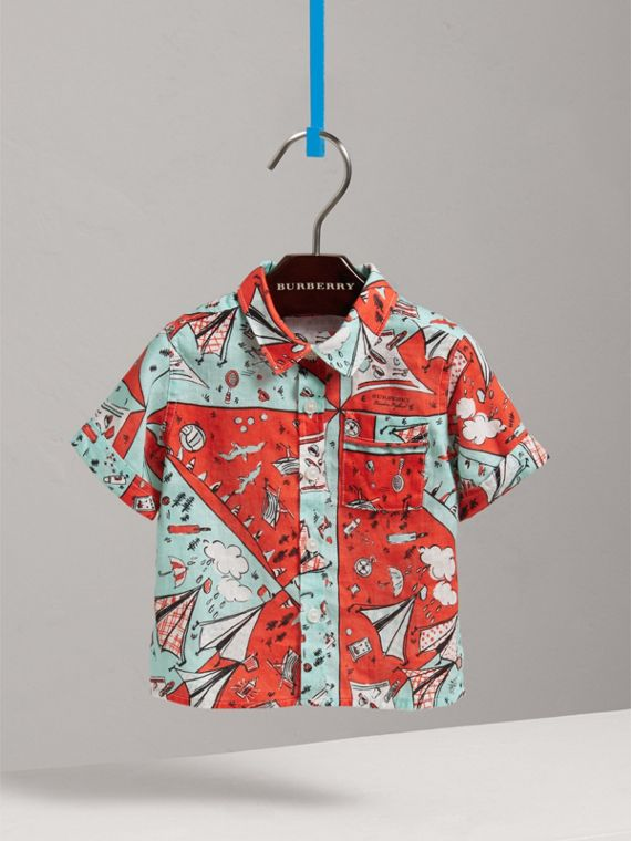 Short-sleeve Picnic Print Linen Shirt in Bright Aqua | Burberry - cell image 2