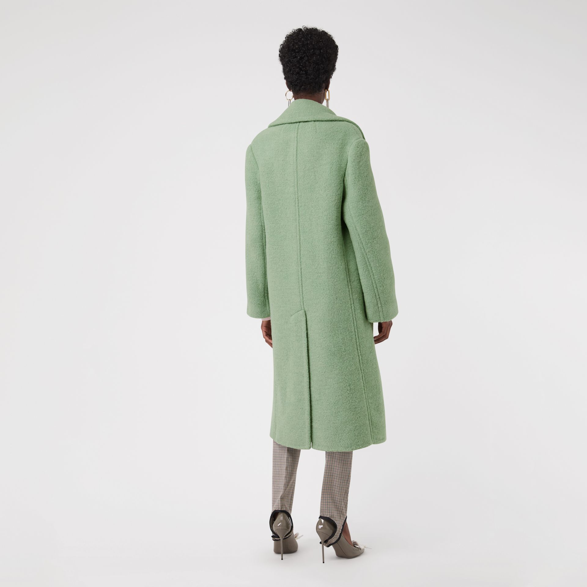 Double-faced Wool Alpaca Blend Cocoon Coat in Celadon Green - Women | Burberry - gallery image 2
