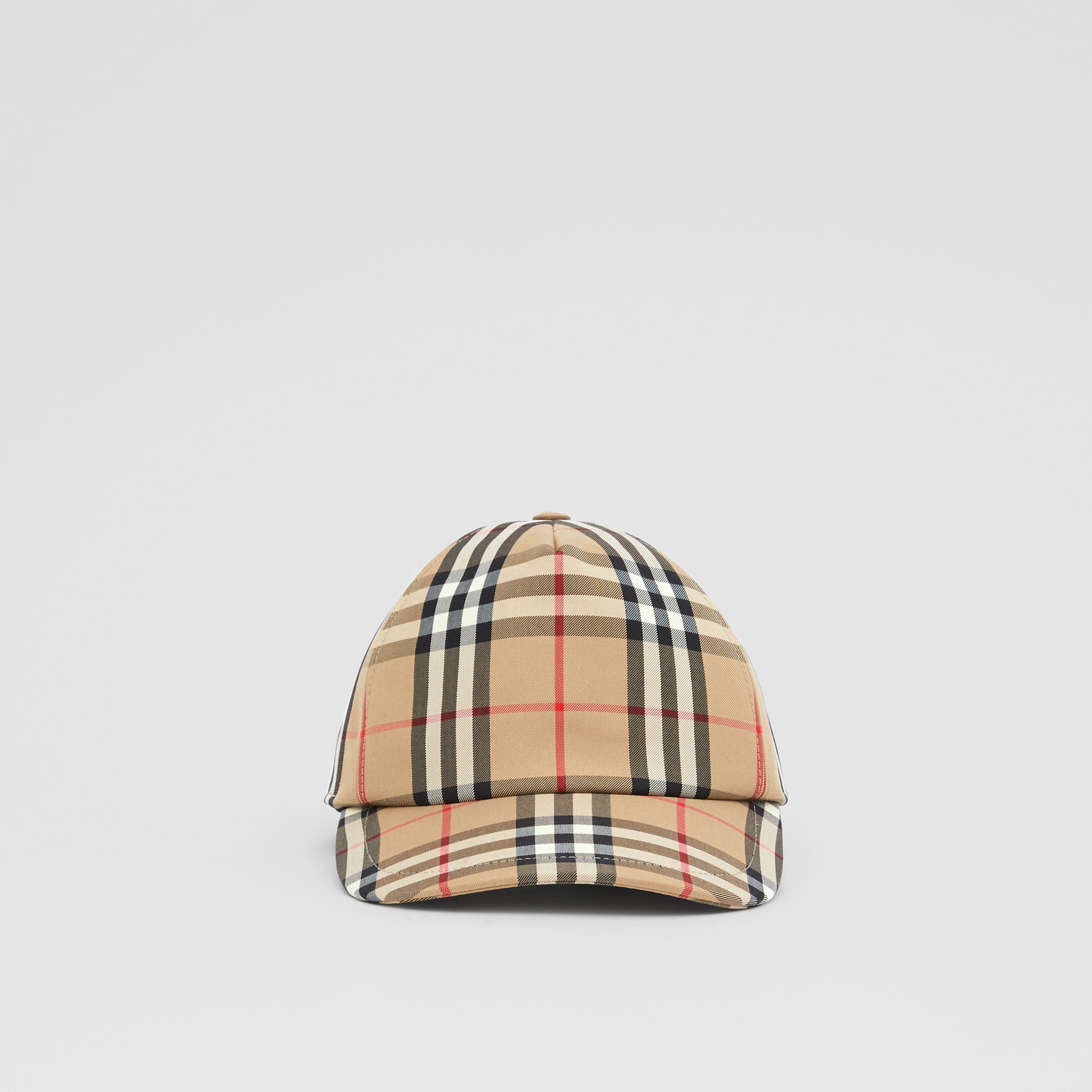 Logo Appliqué Vintage Check Baseball Cap in Archive Beige | Burberry Canada - 1