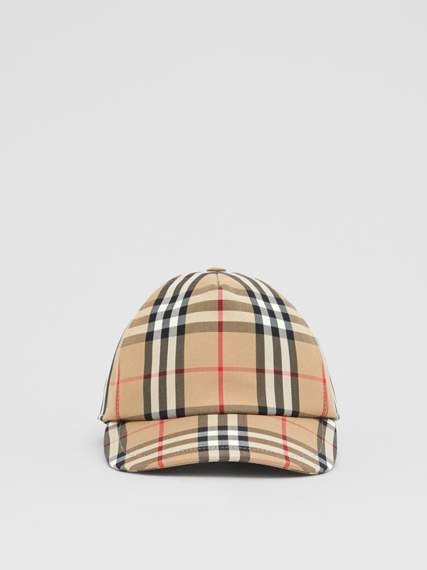 Logo Appliqué Vintage Check Baseball Cap in Archive Beige | Burberry United Kingdom - cell image 3