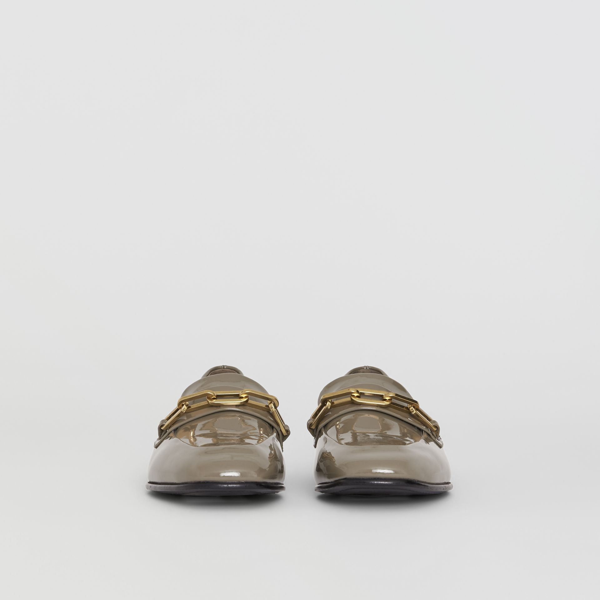 Link Detail Patent Leather Loafers in Taupe Grey - Women | Burberry Canada - gallery image 3