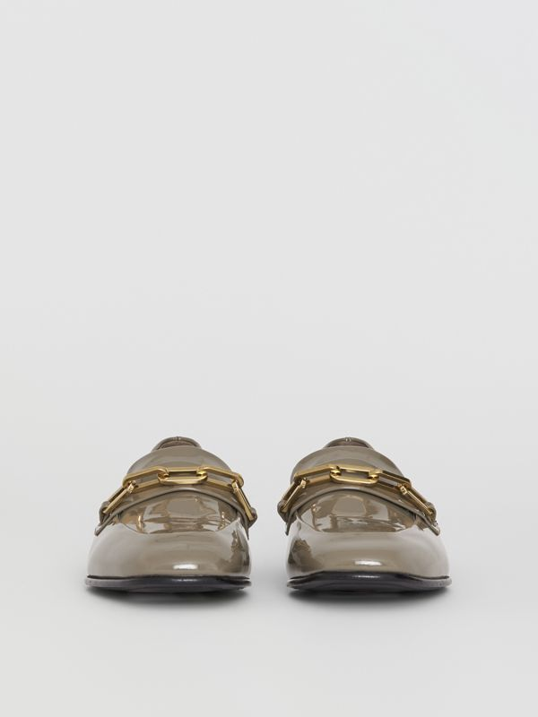 Link Detail Patent Leather Loafers in Taupe Grey - Women | Burberry Singapore - cell image 3