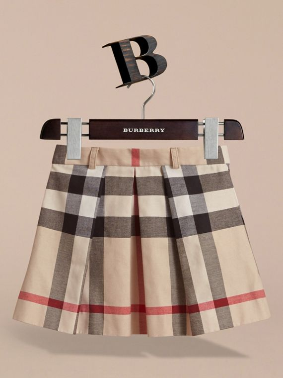 Pleated Check Cotton Skirt in Stone - Girl | Burberry United States - cell image 2
