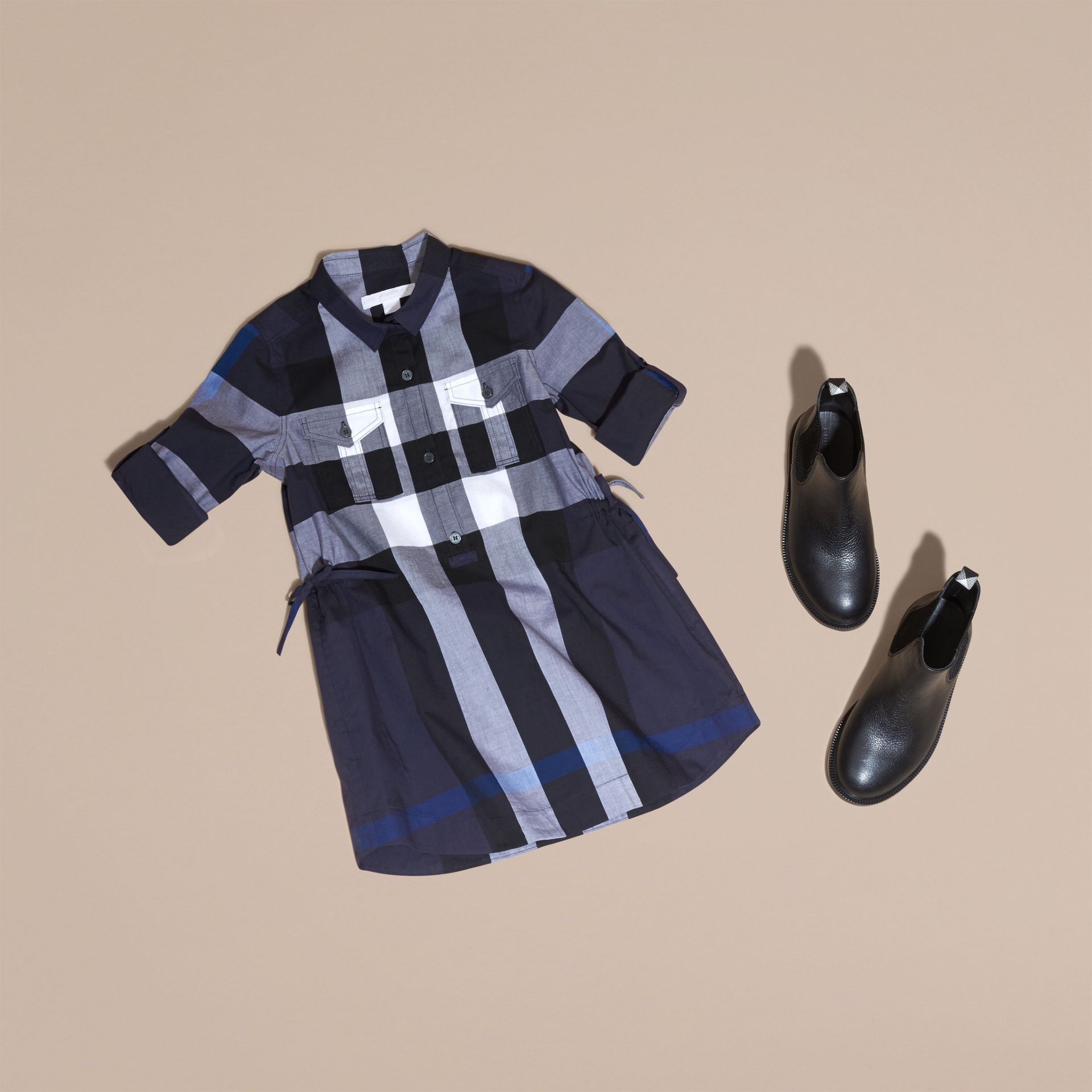 Check Cotton Shirt Dress in Navy - gallery image 5