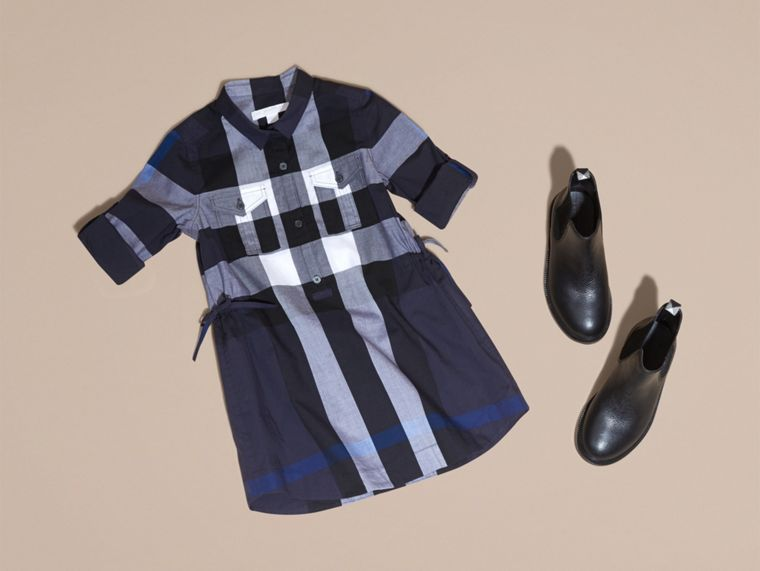 Check Cotton Shirt Dress in Navy - cell image 4