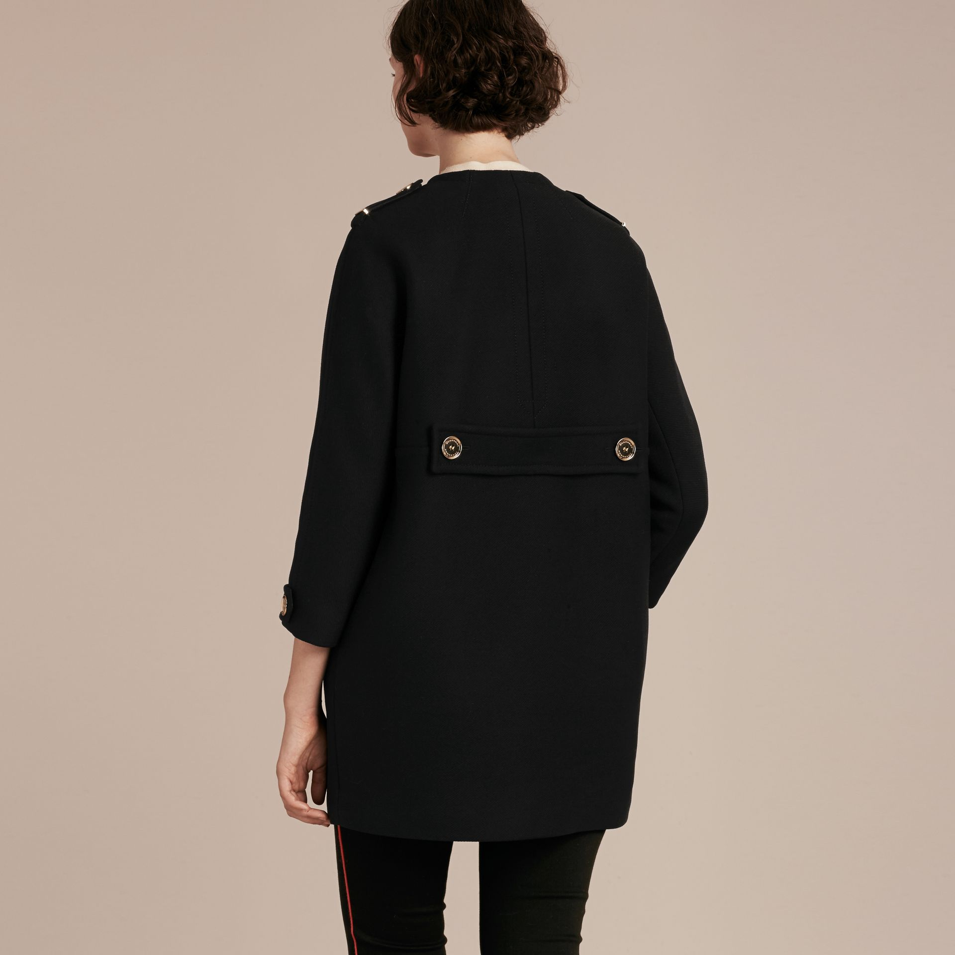 Black Technical Wool Cashmere Collarless Coat Black - gallery image 3