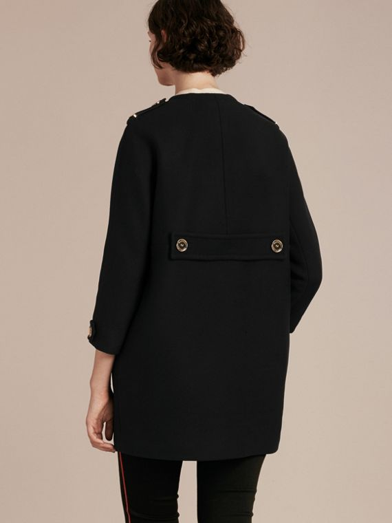 Black Technical Wool Cashmere Collarless Coat Black - cell image 2