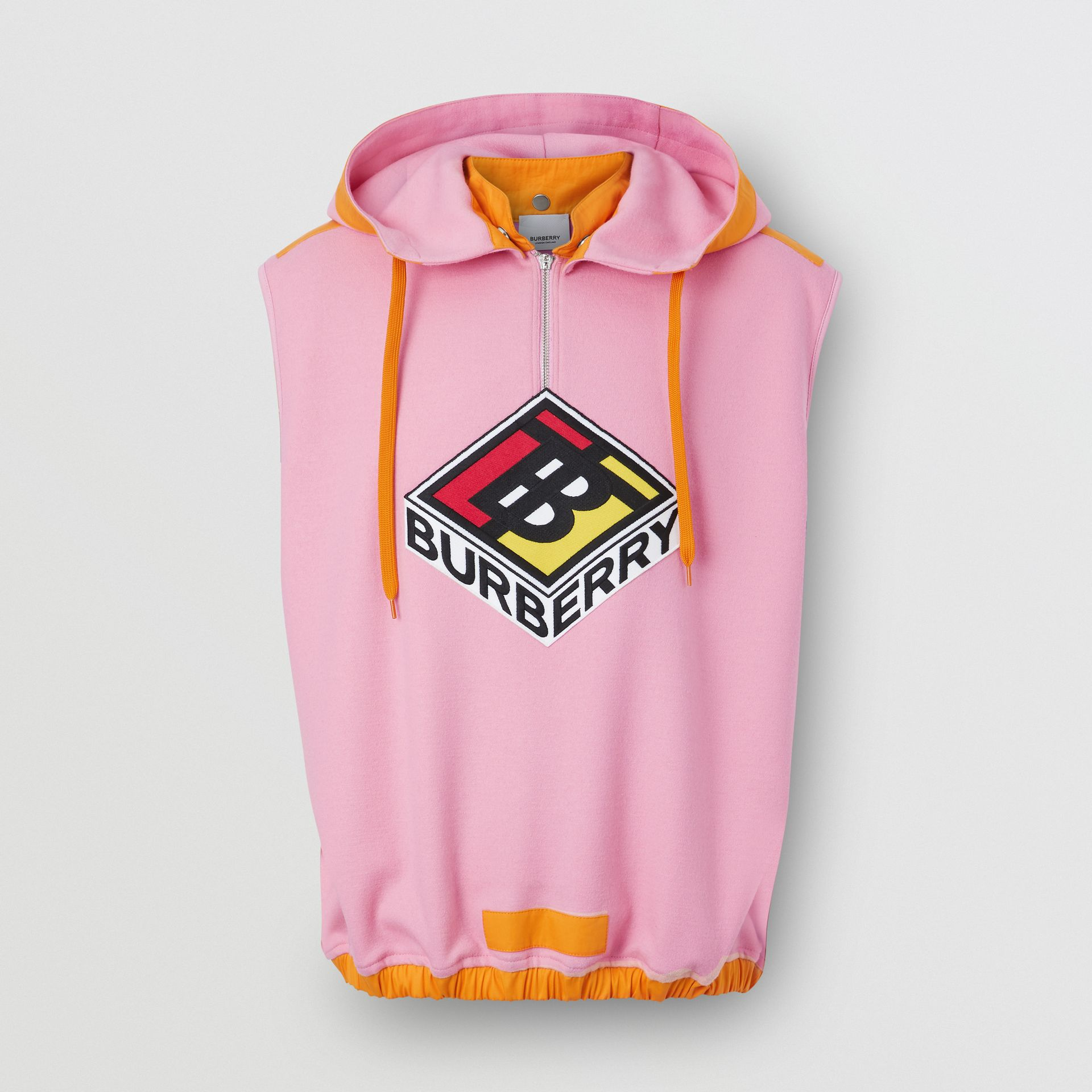 Sleeveless Logo Graphic Wool Hoodie in Candy Pink - Men | Burberry - gallery image 3