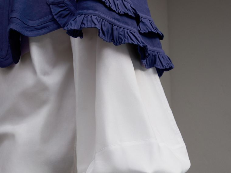 Ruffle Detail Ramie Cotton Capelet in Indigo - Women | Burberry - cell image 4