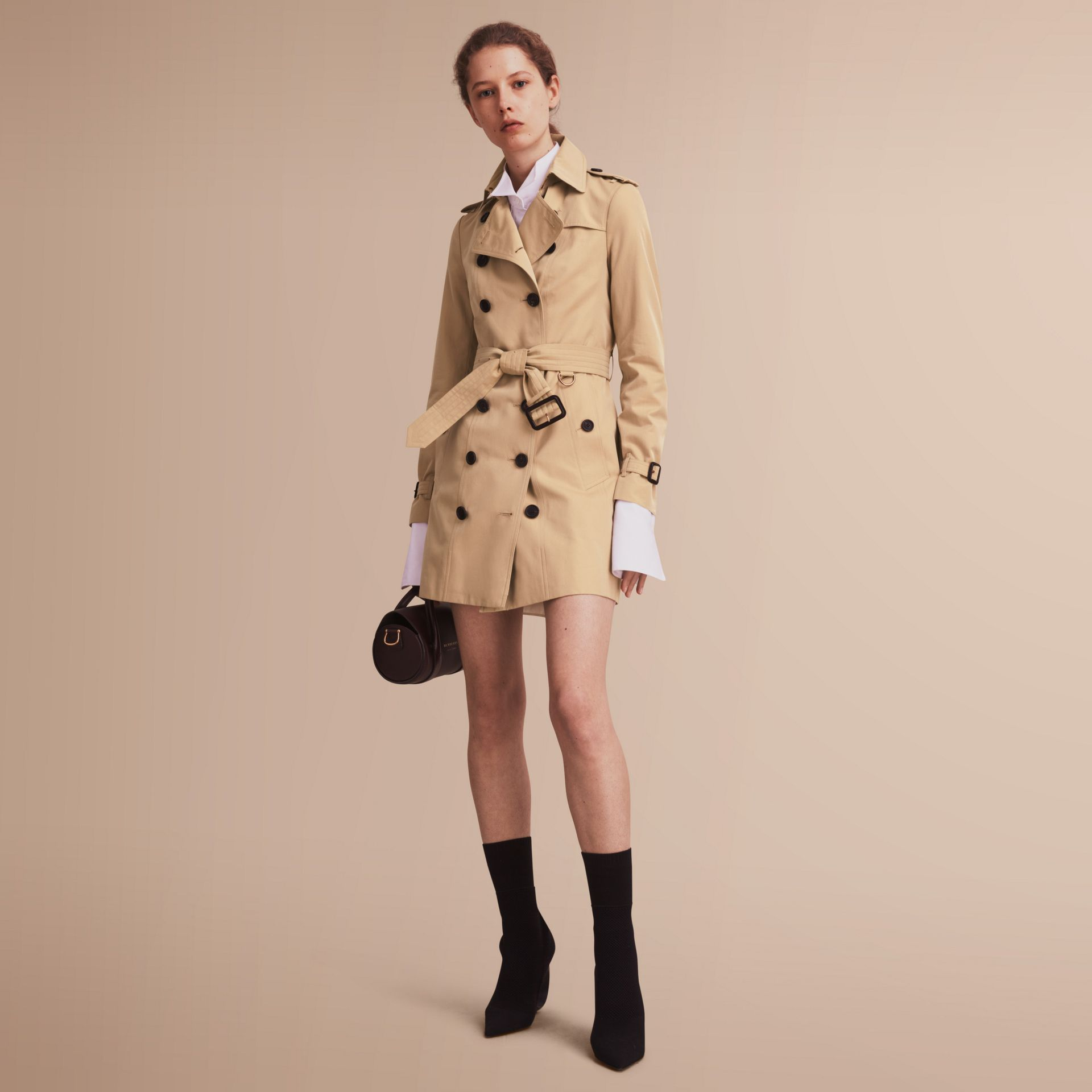 The Sandringham – Mid-Length Heritage Trench Coat in Honey - gallery image 1